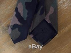 Auth VALENTINO skinny camouflage camo silk tie NWOT