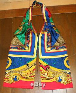 AuthHERMES Ascot Tie 100% Silk Scarf Patten Red Gold Multi-color Cleaned Unisex