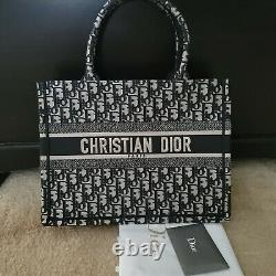 Authentic Dior Small Book Tote Blue Oblique Embroidered Canvas Excellent