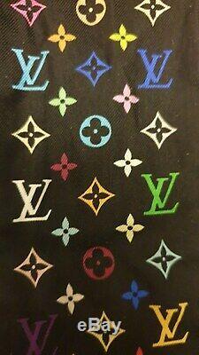 Authentic LOUIS VUITTON BANDEAU Black Multicolor LV tie Silk Scarf Bandeau