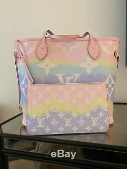Authentic NWT Louis Vuitton Neverfull MM Tote Escale Tie Dye Bag Pastel Receipt