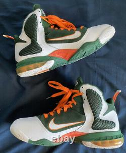 Authentic Rare Nike Lebron 9 Miami Hurricanes Mens Size 12 Fast Shipping