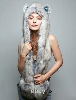 Authentic SpiritHoods Timber Wolf CE Tie-Dye Rare Faux Fur Spirit Hood Hat