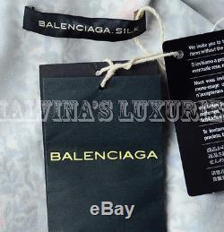 BALENCIAGA DRESS FLEURS PRINT WRAP SELF TIE BOW FRONT sz 40 FR IT 44 US 6 / 8