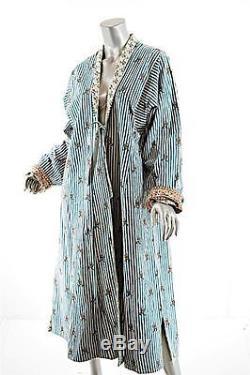 BRIGITTE SINGH Le Jardin Moghol Multi Cotton Quilt/Stripe Tie Duster O/S-Rare