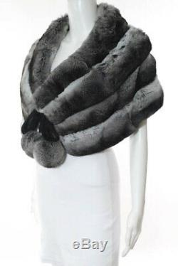 Barneys New York Multi-Color Chinchilla Ball Detail Tie Bolero Cap Size Medium