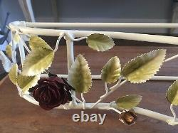 Bed Crown Canopy Teester Drapery Tole Roses with Tie Backs NOS