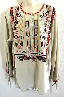 Biya Johnny Was Beige 100% Silk Multicolor Embroidery Tie Sleeve Blouse Top M