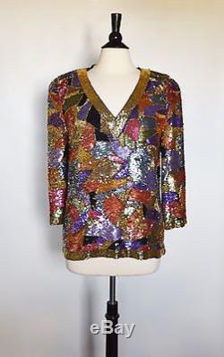 Black Tie Oleg Cassini Silk Colorful Sequin Beaded 3/4 Sleeve Vneck Shirt Top S