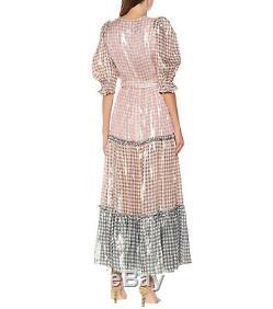 Brand new LoveShackFancy Checked Tie-Detailed Silk-Blend Dress ColorMulti S-L
