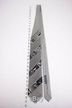 Brioni Pleated Patchwork Silk Neck Tie In Gray and Black With Multicolor Patches