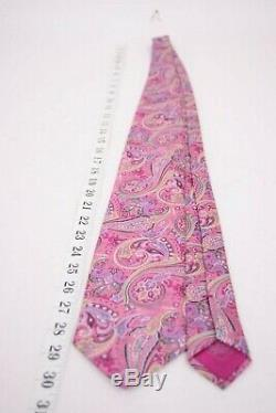 Brioni Silk Neck Tie in Multicolor Powerhouse Pink Paisley Luxury Made in Italy