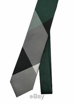 Burberry London Men's Dark Forest green Stanfield Check Silk Neck Tie Skinny