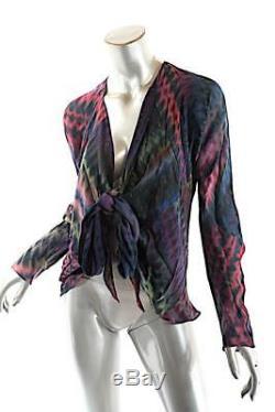 CARTER & TERI SHIBORI Multi Color 100% Silk Tie Dye Motif Shrug Blouse OS