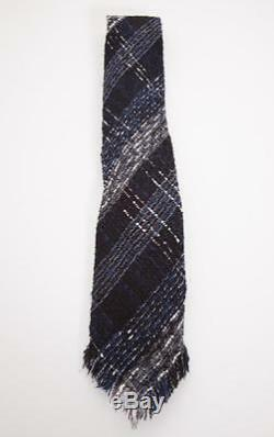 CHANEL 05P Womens Black+Navy Cotton Tweed Fringe Oversized RUNWAY Tie Scarf Belt