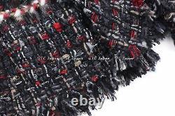 CHANEL 10A 10F Black Red Multicolor Lesage Wool Alpaca Jacket FR36 FR38 NWT