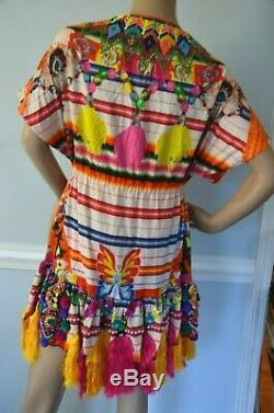 Camilla Franks Unicorn 2013 Pachamama Short Kaftan Fringe Embellished Dress OS