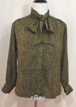 Celine Paris Vintage 100% Silk Button Up Leopard Print Bow Tie Blouse, Sz 36, XS