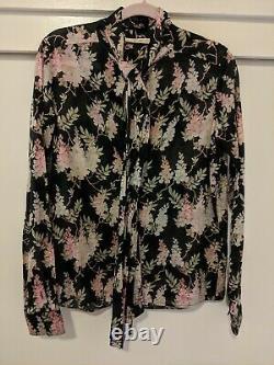 Celine phoebe philo Floral Print Tie Neck Blouse Retailed $1059