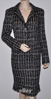 Chanel $5.6k Fantasy Tweed Fringed Jacket & Skirt Suit With Tweed Tie, 36/38, New