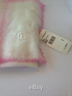 Chanel NWT Tie Dye Pink & White Cashmere Stole/Scarf ($1155) withtax