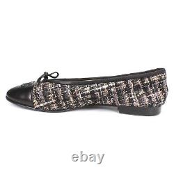 Chanel Tweed CC Cap Toe Flats Black Leather Bow Tie Logo US 7 37.5