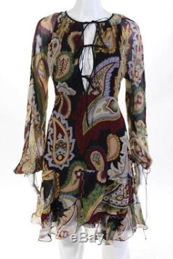 Chloe Womens Dress Size 36 Multi Color Silk Dolman Long Sleeve A Line V Neck Tie