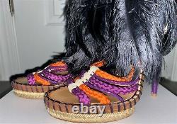 Christian Dior Black Purple Tahiti Feather Stiletto Heels Shoes Sandals 8 38.5