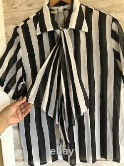 Christian Dior Vintage Sheer Striped Blouse Black & White Removable Tie