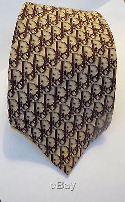 Christian Dior Vintage Yellow Brown Cream GeoMetric Logo Print Silk Neck Tie