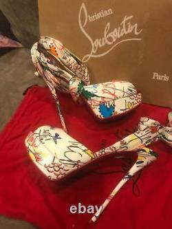 Christian Louboutin JERSEY VAMP 150 LOUBITAG Ankle Tie Platform Heel Shoes $1195