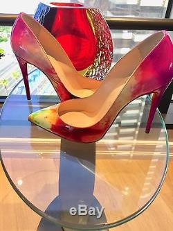 Christian Louboutin Pigalle Follies 100 Patent Tie Dye Pump Size 37.5 7m