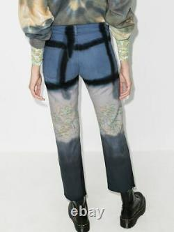 Collina Strada Hand Dyed Ankle Jeans Navy Grid Tie Dye Women S New $430