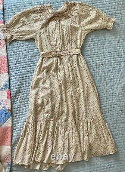 DOEN Isidore Cream Parc Monceau Prairie Flower Print Puff Sleeve Maxi Dress S