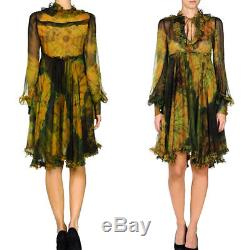 DOLCE GABBANA D&G Multi Color Silk Tie Dyed Print Long Sleeves Dress $2,010