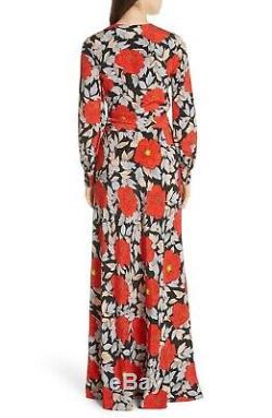DVF DIANE Von FURSTENBERG Floral Print Studio 54 70's Tie Waist Maxi Dress 12 L