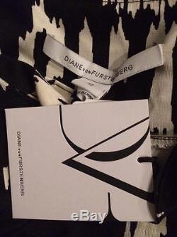 DVF Diane Von Furstenberg ZOE Side Tie Waist Jersey Dress Floral Ikat Black $378