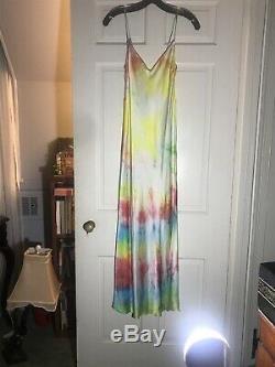 Dannijo Tie Dye Maxi Silk Slip Dress Side Slit NWOT retail 350.00