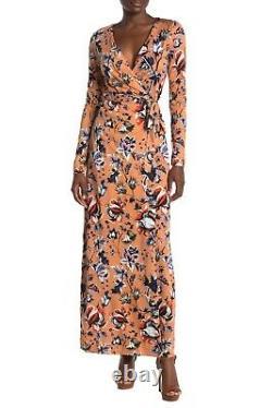 Diane von Furstenberg DVF New Julian Long Silk Jersey Wrap Maxi Dress Size 4