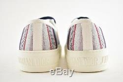 Dior Walk'n'dior Walk N Rainbow White Stripe Lace Up Tie Flat Trainer Sneaker 36