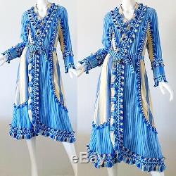 Dodo Bar Or Miranda Embroidered Tassel Bohemian Festival Wrap Dress Small