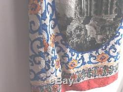 Dolce Gabbana Pantheon Rome Italy tie shift sexy Print Silk Dress 4O 4 mini
