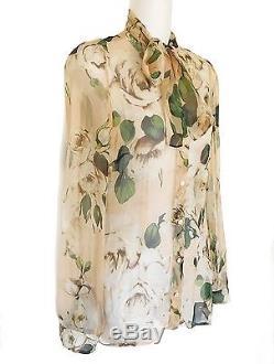 Dolce & Gabbana Rose Floral Silk Tie-neck Scarf Bow Dress Blouse Jennifer Lopez