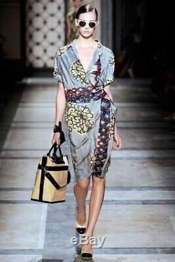 Dries Van Noten Multicolored Silk Tie Front Sleeveless Dress Size 42