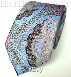 ERMENEGILDO ZEGNA Limited Edition QUINDICI gray MEDALLION silk Tie NWT Authentic