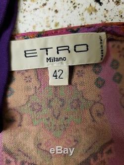 ETRO Abstract Print Jersey Knit V-Neck Wrap Dress w Flowy Waist Tie. 42=4/6. EUC