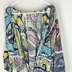 ETRO Blouse Size 44 Tie Front Multi Color Floral Womens