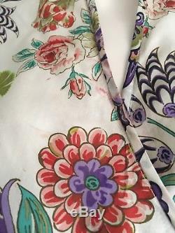 ETRO Silk Floral Print Faux Wrap Tie Blouse Multi Color Sz 42 US 6