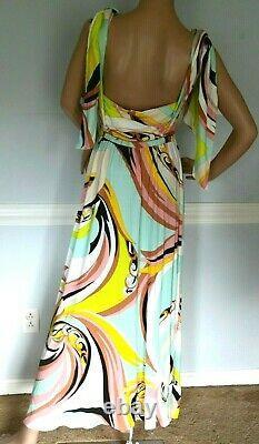 Emilio Pucci Signature Print Tie Shouder Long Kaftan Maxi Gown US 6 8 10 / IT 44