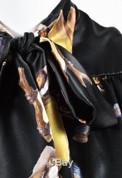 Erdem Black Multicolor Silk Satin Butterfly & Bird Print Tie Neck Blouse SZ 4